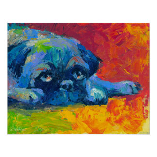 Cute Pug dog portrait svetlana novikova Poster