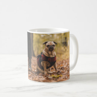 Cute pug dog walking mug