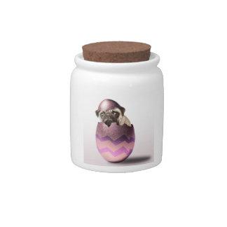 Cute Pug Easter Egg Design Candy Dish