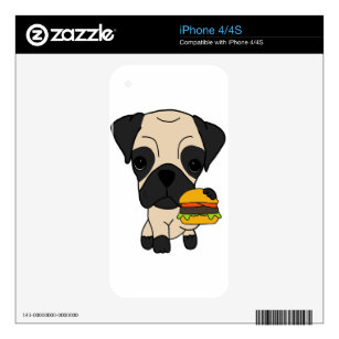 Cute Pug Eating a Hamburger iPhone 4 Decal