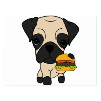 Cute Pug Eating a Hamburger Postcard
