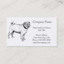 Cute Pug Elegant Dog Drawing Business Card