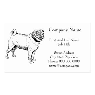 Cute Pug Elegant Dog Drawing Business Card Templates
