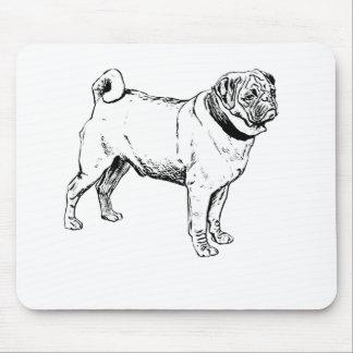 Cute Pug Elegant Dog Drawing Mouse Pad
