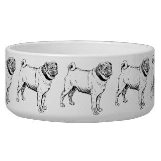 Cute Pug Elegant Dog Drawing Dog Food Bowls
