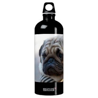 Cute Pug Face Closeup Aluminum Water Bottle