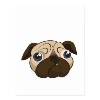 Cute Pug Face Postcard