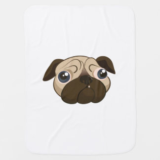 Cute Pug Face Receiving Blanket