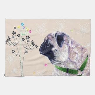Cute Pug Flowers Kitchen Towels