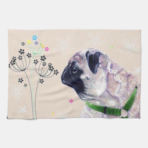 Cute Pug & Flowers Kitchen Towels