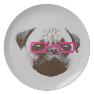 Cute Pug Hipster with Pink Glasses Melamine Plate