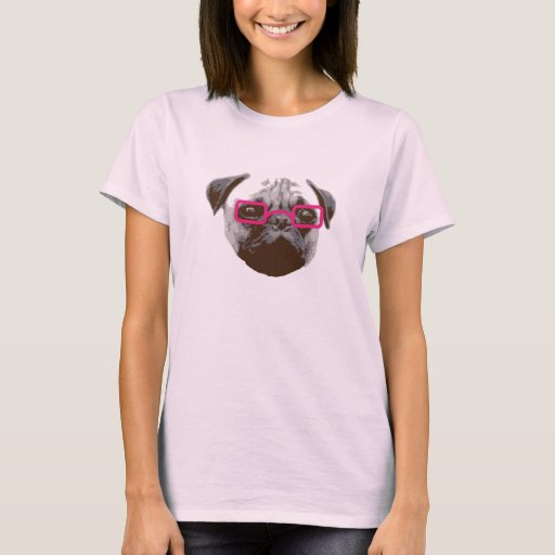 Cute Pug Hipster with Pink Glasses T-Shirt
