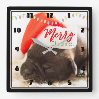 Cute Pug in a Red Santa Hat Merry Christmas Square Wall Clock