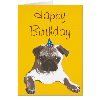 Cute Pug in Hat Happy Birthday Card