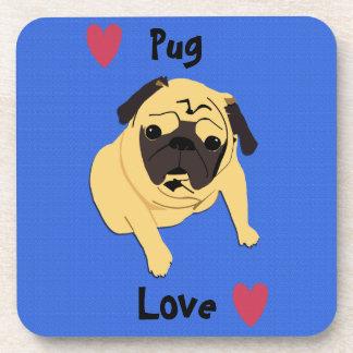 Cute Pug Love Dog Drink Coaster
