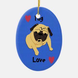 Cute Pug Love Dog Double-Sided Oval Ceramic Christmas Ornament