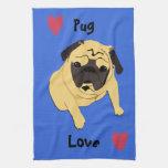 Cute Pug Love Dog Hand Towel