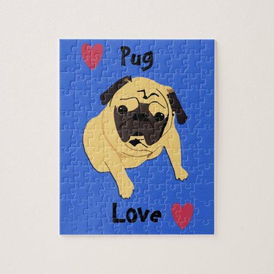 Cute Pug Love Dog Jigsaw Puzzle