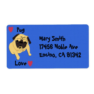 Cute Pug Love Dog Personalized Shipping Label