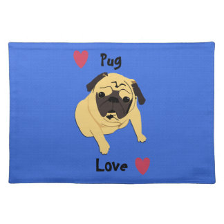 Cute Pug Love Dog Placemat