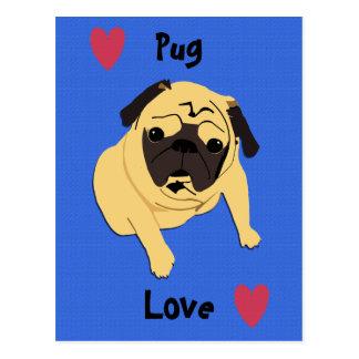 Cute Pug Love Dog Postcard