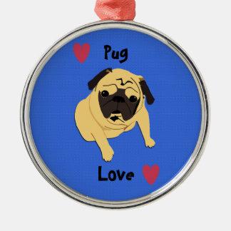 Cute Pug Love Dog Round Metal Christmas Ornament