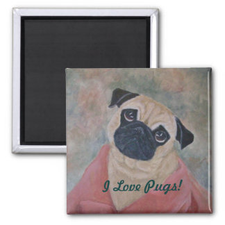 Cute Pug Magnet from Original Art Print