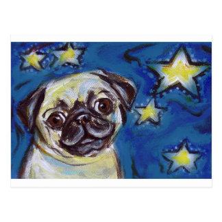 Cute Pug Nighttime Stars Postcard