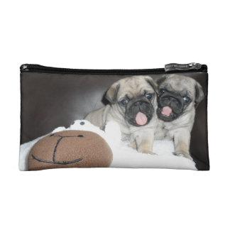 Cute pug puppies - makeup bag