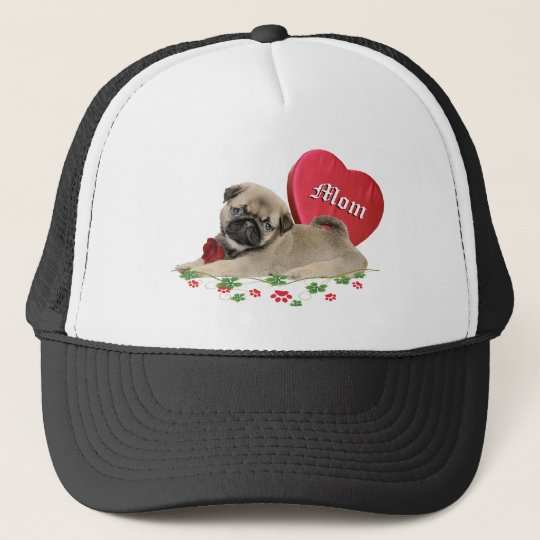 Cute Pug Puppy A Mom's Design Trucker Hat