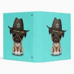 Cute Pug Puppy Dog Sheriff 3 Ring Binder