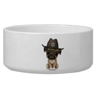 Cute Pug Puppy Dog Sheriff Bowl