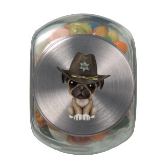 Cute Pug Puppy Dog Sheriff Glass Candy Jar