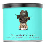 Cute Pug Puppy Dog Sheriff Hot Chocolate Drink Mix
