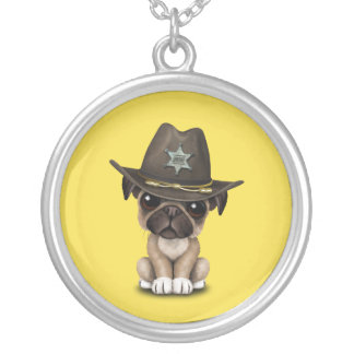 Cute Pug Puppy Dog Sheriff Silver Plated Necklace