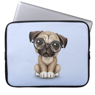 Cute Pug Puppy Dog Wearing Reading Glasses, Blue Computer Sleeve