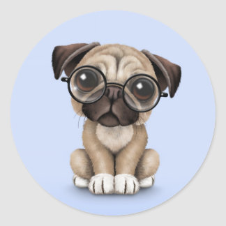 Cute Pug Puppy Dog Wearing Reading Glasses, Blue Round Stickers
