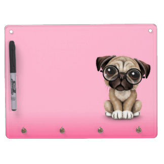 Cute Pug Puppy Dog Wearing Reading Glasses, Pink Dry Erase Board With Keychain Holder
