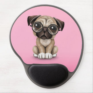 Cute Pug Puppy Dog Wearing Reading Glasses, Pink Gel Mouse Pad