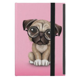 Cute Pug Puppy Dog Wearing Reading Glasses, Pink Covers For iPad Mini