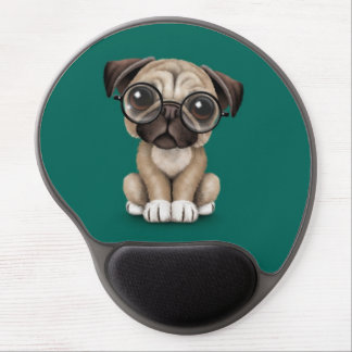 Cute Pug Puppy Dog Wearing Reading Glasses, Teal Gel Mouse Pad