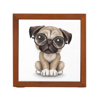 Cute Pug Puppy Dog Wearing Reading Glasses, White Desk Organizer