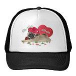 cute pug puppy mom's side kick valentine trucker hats