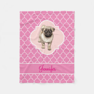 Cute Pug Puppy Pink Quatrefoil with Name Fleece Blanket