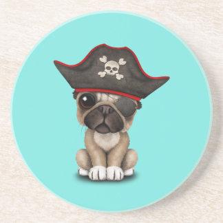 Cute Pug Puppy Pirate Sandstone Coaster