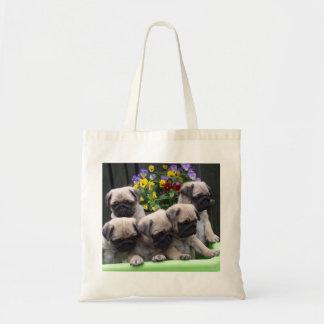 Cute pug puppy tote bag