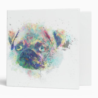 Cute pug puppy watercolor splatters paint 3 ring binder