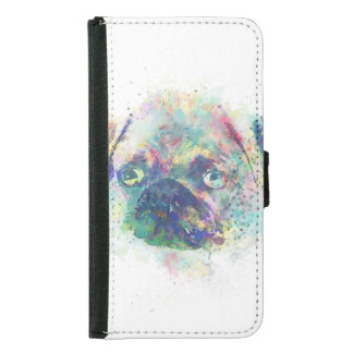 Cute pug puppy watercolor splatters  paint wallet phone case for samsung galaxy s5