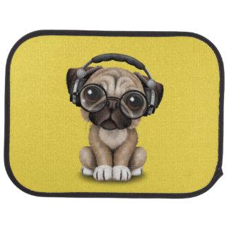 Cute Pug Puppy Wearing Headphones Car Mat
