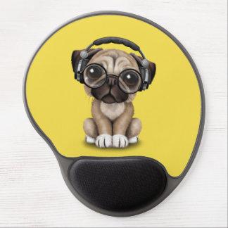Cute Pug Puppy Wearing Headphones Gel Mouse Pad